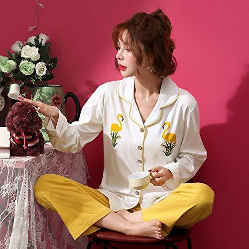 Pijamas Mujer,Casa De Verano De Algodón Dulce Cardigan Caricatura Flamingo Amarillo De Impresión De Gran Tamaño Casual Pijama Desencadenado Suave Ropa Cómoda Casa Puede Llevarse Fuera,Imagen,L