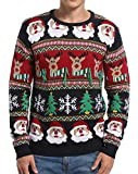 Daisyboutique Men's Christmas Decorations Stripes Sweater Cute Ugly Pullover (Large, Striped Santa)