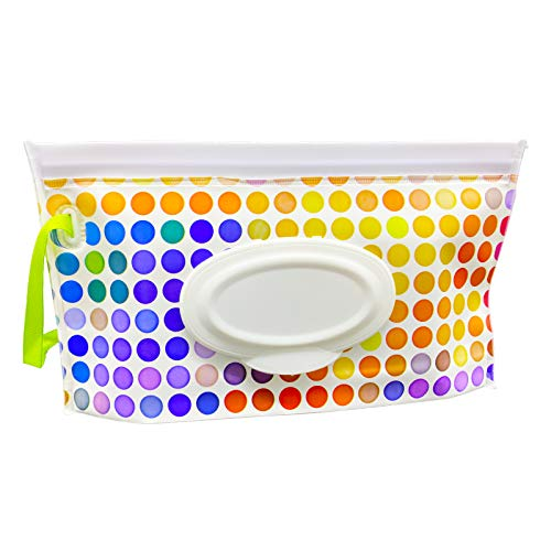 VOONGOR Portable Refillable Wet Wipe Container, Reusable Travel Wipes Holder & Case, Lightweight Flushable Diaper Wipes Pouch for Baby (Color Dots)