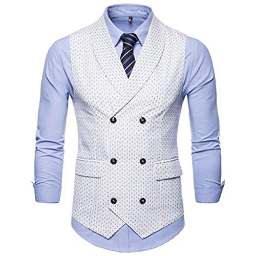 Herren Anzug Weste Doppelreiher Casual Hemd Weste Punkte Print Weiche Weste Jacke M 4XL N9033 Gr. Medium, weiß