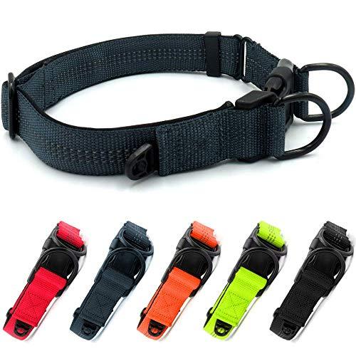 Beshine Collar reflectante de neopreno para mascotas con anillo de identificación separado y doble anillo en D, duradero ajustable y cómodo collar para perros medianos o grandes, color gris