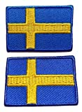 b2see Iron on Bügel Aufnäher Fahne Patches Flicken Aufbügler Bügelbild Applikation Sticker-Ei Flagge Skandinavien Schweden Set 2 STK jeweils 4,8 x 3 cm