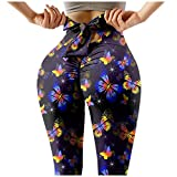Pantalones Deportivos Estampado de Mariposas para Mujer Leggings de Deporte de Cintura Alta con Bowknot Mallas Push Up Leggins Transpirables Elásticos Pantalón Ideal para Running Gym Yoga
