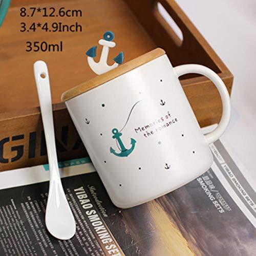 Keramiktasse Cappuccinotassen 350 Ml Keramik 3D Stereo Nautical Becher Mit Deckel Und Löffel Tasse Mediterrane Kreative Tassen Kaffee Milch Student Cups, Anker