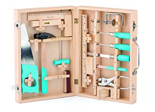 Woody 91800 Werkzeugschrank , Werkschrank ,16 teiliges Set. Werkzeugkoffer Holz Natur