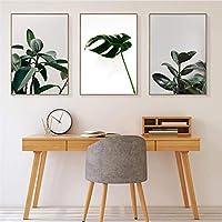 熱帯のヤシの葉のキャンバスの絵画ポスター北欧緑の植物の葉の家の装飾の壁の写真リビングルーム-40x60cmx3非フレーム