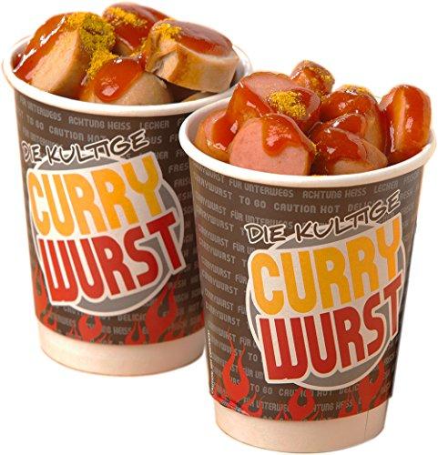 50 x Currywurst Cup/To Go Becher/Food Becher | Höhe 11 cm/Ø 8,5 cm (0,28 € / Stück)