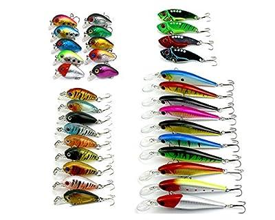 HENGJIA 1.6-11g Mixed Fishing Lures Set Kit Mini Crankbait/Metal VIB/Minnow Plastic Fishing Bait Hard Lures for Trout Bass Pike Muskie 4models 33pcs by HENGJIA