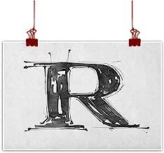 Sunset glow Wall Painting Prints Letter R,Gothic Medieval Inspired Alphabet Font Capital R Calligraphic Design Illustration, Black White for Bedroom Living Room Kitchen Bathroom Artwork