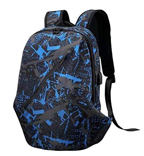 Viajes Multifuncional Mochila Impermeable del USB Oxford Lienzo De Carga + Escuchar Las Canciones Adecuadas para El Alpinismo del Recorrido Al Aire Estudiantes,Azul