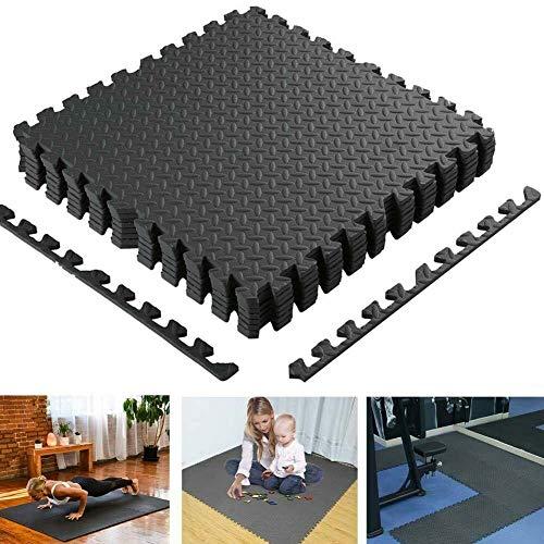 BAKAJI Tappeto Puzzle Tappetino Multiuso Fitness Palestra Gioco Bambini in Schiuma Eva Dimensione 60x60cm Colore Nero (8 pz)