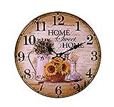 LB H&F Lilienburg Wanduhr ohne tickgeräuche Vintage Küchenuhr lautlos Uhr grün braun gelb Home