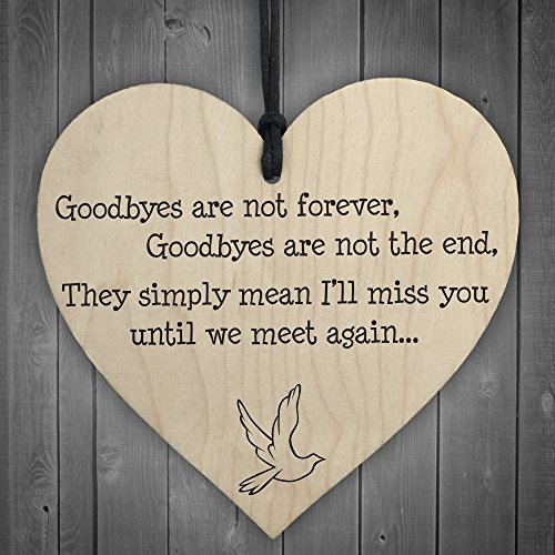 RED OCEAN Goodbyes Are Not Forever Wooden Hanging Memorial Heart Plaque...
