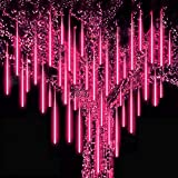 Roytong Waterproof LED Meteor Shower Lights,Falling Rain Decoration Lights,50cm 8 Tube Icicle Snow Fall String,Cascading Fairy Lights for Party,Holiday,Xmas Tree,Christmas Icicle Lights
