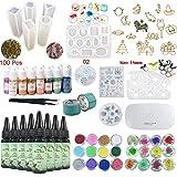 UV Resina Epoxi Kit 180ml con Moldes Silicona + Biseles + Pigmento + Decoraciones + Lámpara + Pinzas, Resina Transparente para Manualidades Hacer Joyas Joyería
