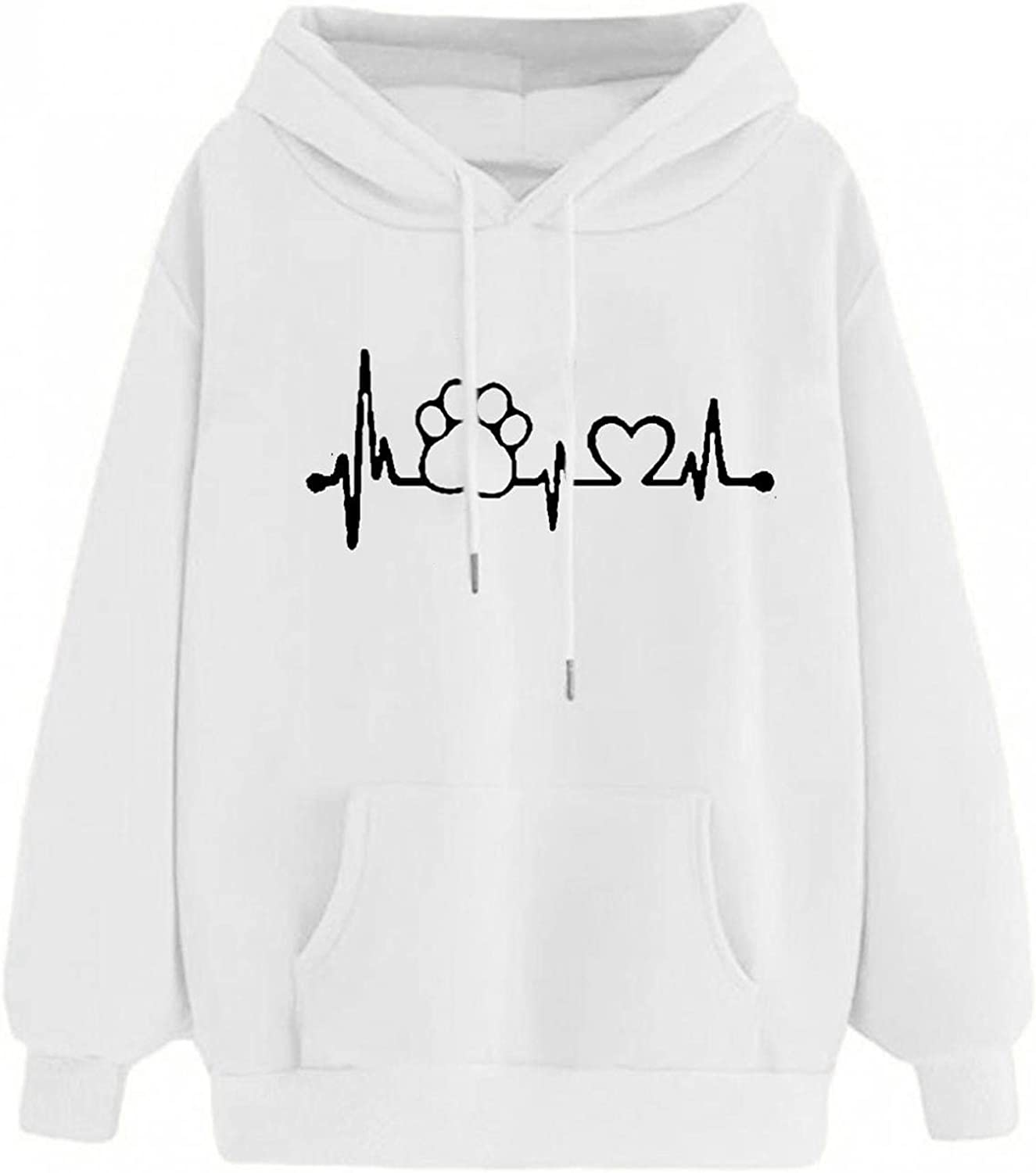 Hotkey Hoodies for Women, Women's Fashion Long Sleeve Tops Heart Cute Paw Graphic Pullover Sweatshirt for Women with Pocket