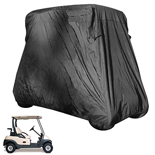 Why Should You Buy Deluxe 2 Seater Golf Cart Cover in Black roof up to 58, Fits E Z GO, Club Car an...