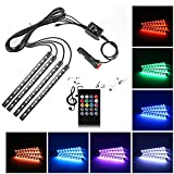 Car LED Strip Light,Uniwit 4 Pieces DC 12V 72 LED Multicolor Car Interior Music Light LED Underdash Lighting Kit with Sound Active Function and Wireless Remote Control Including Car Charger