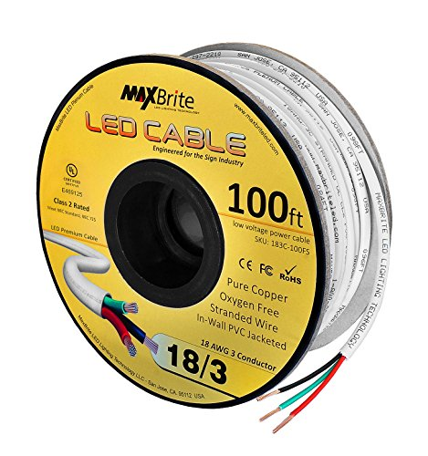 18AWG Low Voltage LED Cable 3 Conductor White Sleeve in-Wall Speaker Wire UL/cUL Class 2 (100 ft Reel)