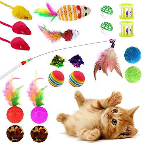 ETHEL Giocattoli per Gatti,20 Pezzi Gatto Giocattoli,Bacchetta Giochi con Piume per Gatto Gatto Jingle Bell Palla di Gatto,Interattivi Gioco per Gattino Kitten