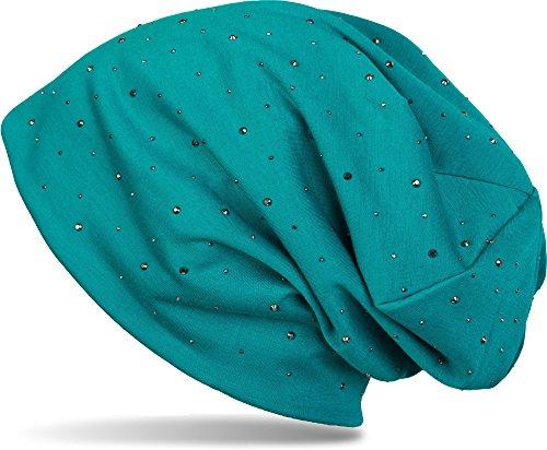 styleBREAKER Klassische Beanie Mütze mit edler Strass-Nieten Applikation, Unisex 04024037, Farbe:Petrol