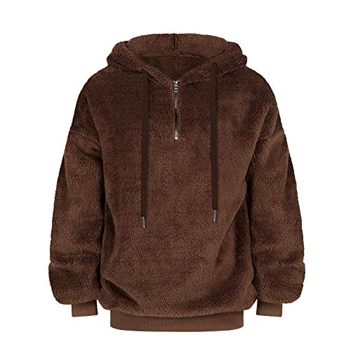 Fleece Sweatshirts Womens Casual Double Fuzzy Fluffy Hoodie Warm Stylish Pullover with Pockets 03-M