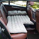 Colchón inflable para coche de PVC y forro polar, cómodo, resistente al desgaste, con puerta de inflado de aire a prueba de fugas, para coche, exterior, 135 x 75 cm (gris)