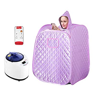KKTECT Portable Sauna Tent for Household Use, Single Sauna with Foldable and Steamable Feet, Storage Bag, Remote Control, Fumigation Machine