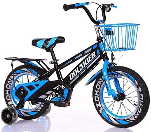 Bicicletta di Kids Bike Bambino con Hummer Flash rotelle di addestramento, 12' 14' 16' 18' Pollici Ragazzi/Pedale Bici 3-6-9-Year-Old con Supporto Sedile e Carrello (Color : Blue, Size : 18inch)