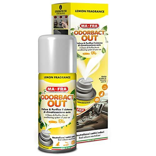 Ma-Fra H1028 Mafra, Odorbact out Lemon Fragrance, Spray Purificante per Climatizzatori Auto, Neutralizza i Cattivi Odori e Rilascia Una Piacevole Fragranza al Limone, Confezione da 150 ml