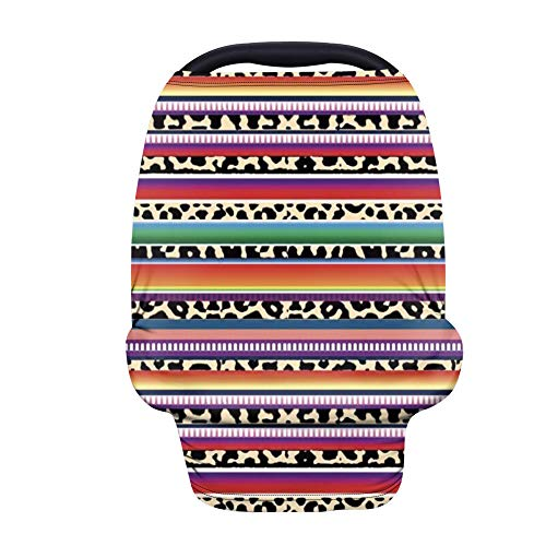 PZZ BEACH Colorful Stripes Serape Leopard Print Multi-Use Baby Nursing Cover Breastfeeding Scarf/Shawl, Soft & Breathable Babies Carseat Canopies, Great Baby Shower Gifts