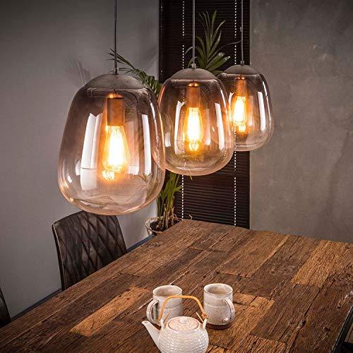 Hängelampe edle Esstischlampe Glaslampe grau Metallic Finish 3 Flammig