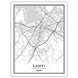 SJAKMA Finnland Lahti-Map Stadt Vlies Poster Wandbild,