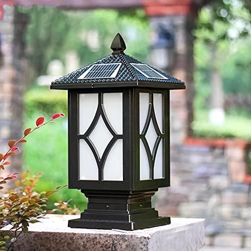WRMING LED Luz de Farola Poste Solar Exterior Vintage Jardín Luces de Poste IP65 Aluminio luminación de Caminos con Sensor Crepuscular Lámpara de Pedestal,con Mando a Distancia, Negro,25 * 44cm
