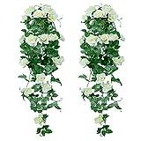 XONOR Plantes suspendues artificielles - Faux Soie Rose Fleurs Suspendus Guirlande Rotin Ivy Vigne pour la Décoration De Noce Jardin Mur (Blanc, 2 pièces)