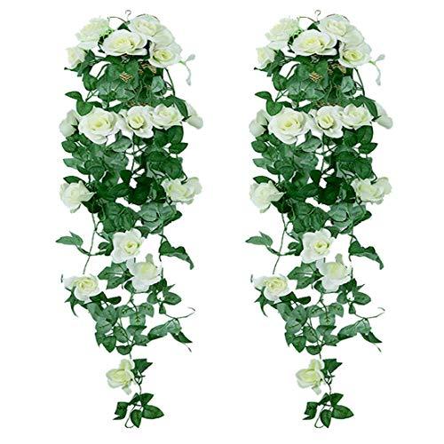 XONOR Piante Artificiali appese - Fiori di Seta Rosa Finti appesi Ghirlanda Rattan Ivy Vine per la Decorazione della Parete del Giardino di Festa di Nozze (Bianco, 2 Pezzi)