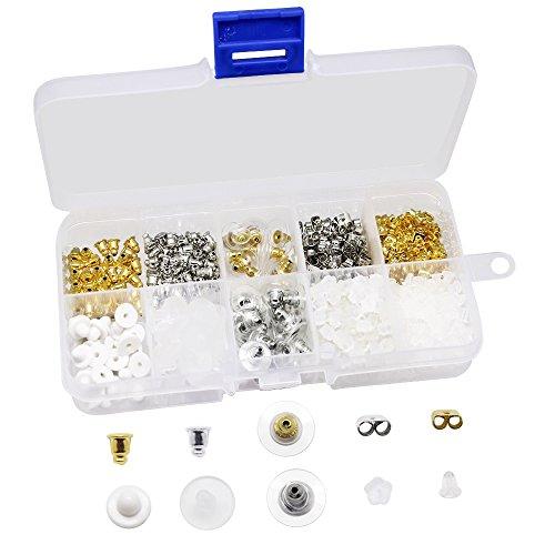 Dreamtop Kit de 10 estilos de pendientes de goma de metal con cierre de seguridad en forma de bala y mariposa, estilo de flor, 450 piezas