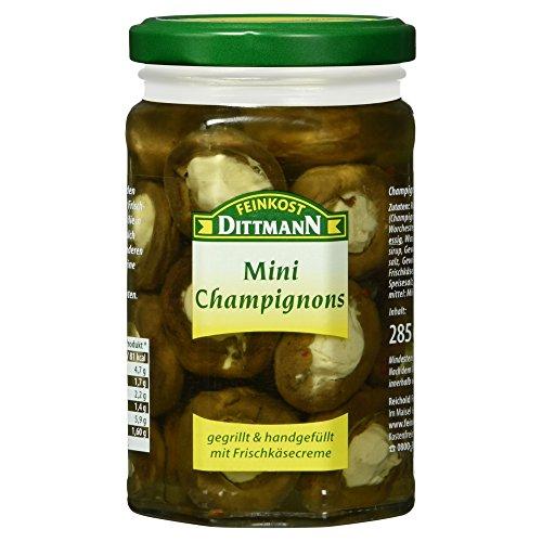 Feinkost Dittmann Mini-Champignons gegrillt und gefüllt mit Frischkäsecreme, 1er Pack (1 x 180 g)