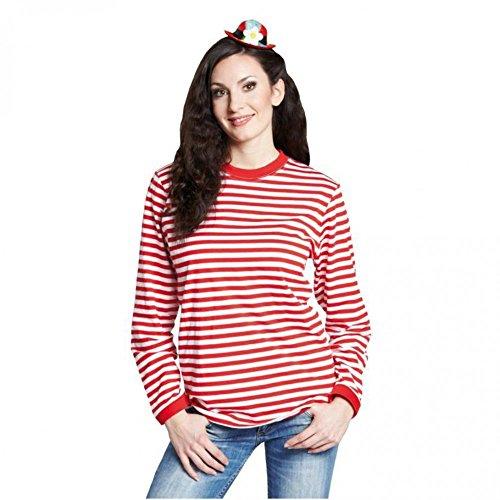 Rubies 14865-9 - Camiseta de Rayas de Manga Larga de Color Rojo...