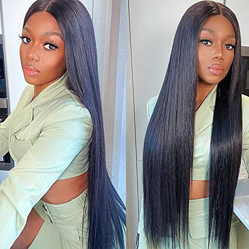 Glueless Straight Hair Lace Front Closure Wigs 30 Inch 4x4 Straight Lace Front Wigs Pre Plucked Brazilian Virgin Human Hair 150% Density Straight Hair Wig for Black Women with Elastic Bands Baby Hair