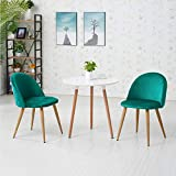OFCASA Set of 2 Dining Chairs Green Velvet Upholstered Seat Kitchen Lounge Chair with Wood Effect Metal Legs for Counter Restaurant