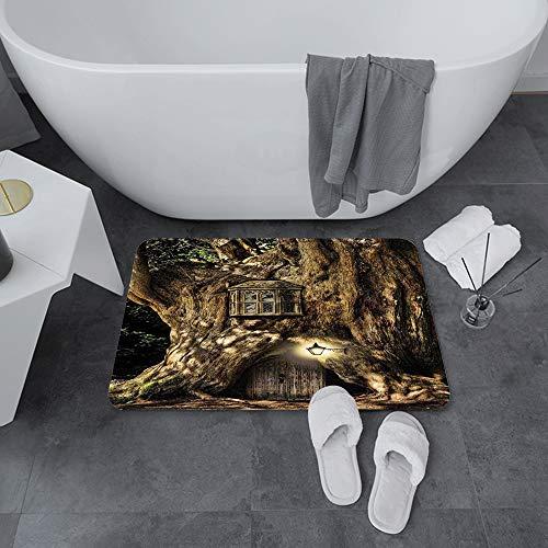 Badematte rutschfest 60x100 cm,Fantasie, Märchen im Baumstamm im Wald mit Laternen Volksgeschichten Themen,Bodenmatte oder Badvorleger für Dusche, Badewanne und Toilette - für Fußbodenheizung geeignet