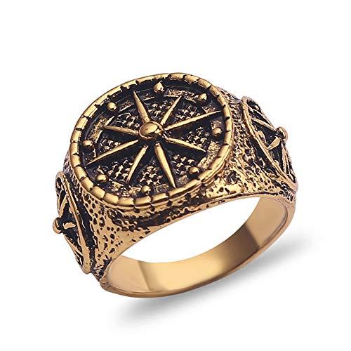 Anelli bussola vintage Anelli musulmani Islam Allah Anelli gioielli dichiarazione per anelli d'oro arabi da uomo Regali 9 Oro antico