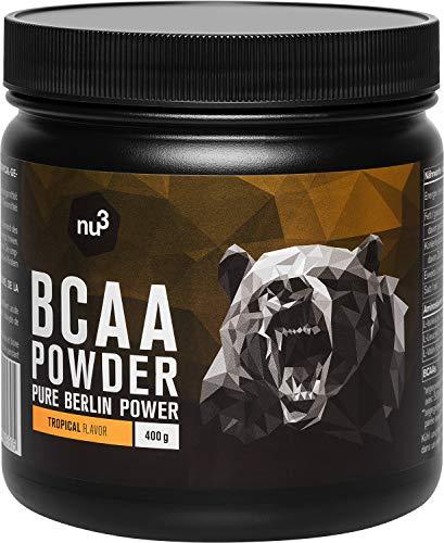 BCAA Vegan en poudre 400g Tropical - Acides aminés pendant l'effort sportif pour la récupération - Apport d'énergie optimal pour les muscles et les athlètes - Réduit les courbatures - nu3