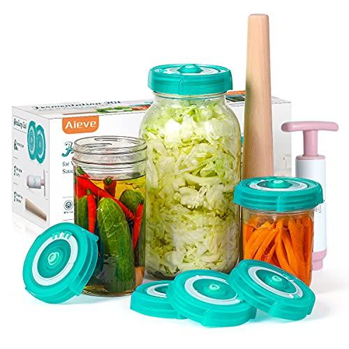 AIEVE Fermentation Lids, 6 Pack Mason Jar Fermenting Lids with Extractor Pump and Sauerkraut Pounder Fermenter Lids Fermentation Kit for Wide Mouth Mason Jars to Make Sauerkraut, Kimchi, Pickles