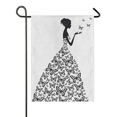 Bannière en Plein Air Drapeau De Jardin Double Face Papillons Fille Robe Jardin Décoration 28x40 Pouce Intérieur