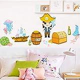 Etiqueta de la pared-Papel Pintado Infantil Pirata 135x60cm Decoración de dormitorio/vidrio/pared
