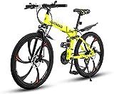 Outroad Folding Mountain Bike 6 Spoke 21-Speed 26-inch Wheel Double Disc Brake Full Suspension Anti-Slip MTB, Fluorescent Green