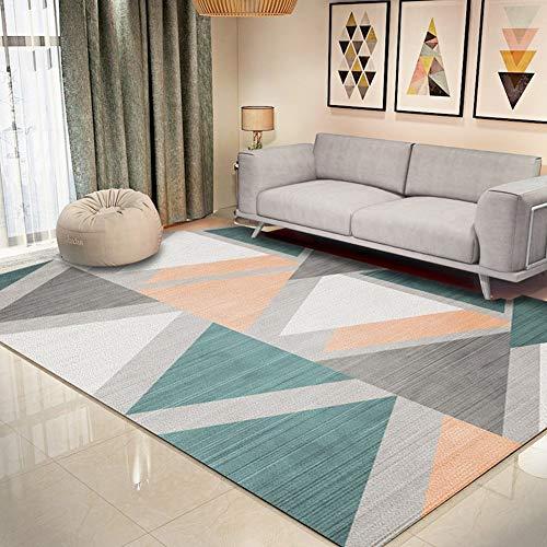 CCDZ Alfombra decorativa para dormitorio, color rosa, diseño abstracto, geométrica, para sala de estar, antideslizante, 6 tamaños 11.29 (color: B, tamaño: 180 x 200 cm)