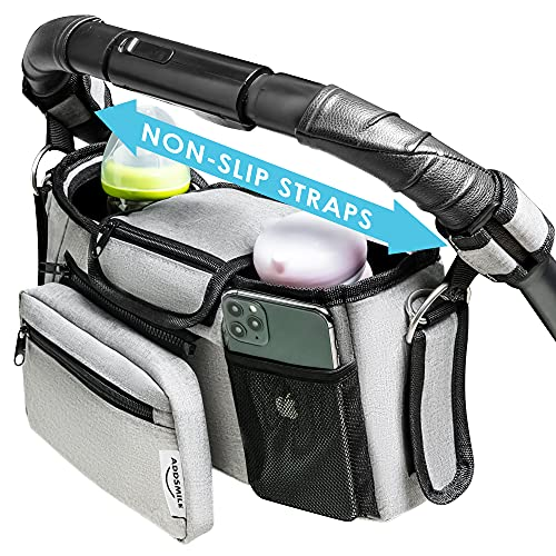 ADDSMILE Universal Baby Stroller Organizer with Insulated Cup Holder Detachable Bag, Stroller Caddy with Shoulder Strap Diaper Storage, Fits All Strollers (Grey)